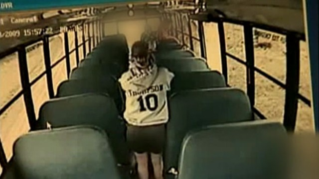 VIDEO: Surveillance cameras show life inside school buses, including this drunk driving incident.