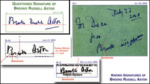 Photo: Brooke Russell Astor: Signature Under Scrutiny in Trial: Handwriting Experts Analyze Astor Signature On Third Codicil; One Expert Says: No Doubt That Is Not Brooke Astors Signature