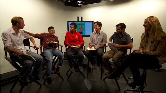 PHOTO:Cuéntame Founder and Director, Axel Caballero (third from right), meets with his team. From left to right: Daniel Dronsfield, Luis Moreno, Raul Preciado, Axel, Carolos Miranda, and Patricia De Borba.
