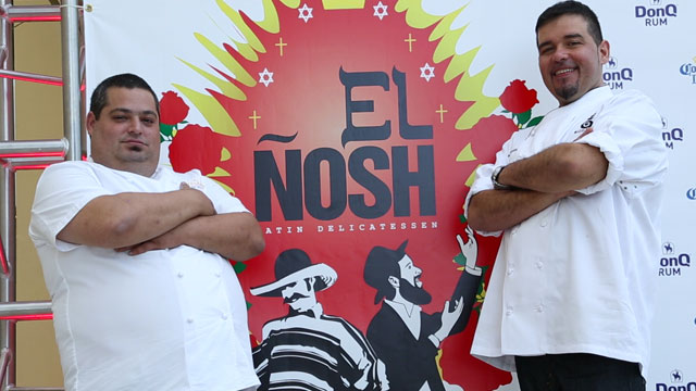 Eric Greenspan (left) and Roberto Treviño (right), chefs behind El Ñosh, a Latin/Jewish fusion pop-up restaurant in Miami during the South Beach Wine and Food Festival.