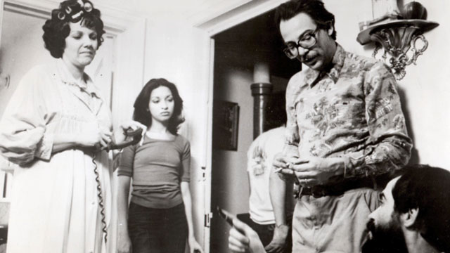 """A picture from the set of the 1979 Cuban classic """"El Super"""", directed by Leon Ichaso and Orlando Jimenez-Leal. From left to right, Zully Montero, Elizabeth Peña,Raymundo Hidalgo Gato and Leon Ichaso."""