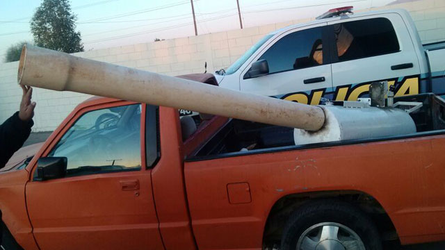 Mexican police confiscated this improvised drug canon in March of this year. It was used to hurl drugs over the US/Mexico border.