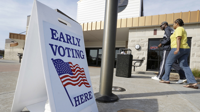 PHOTO:Early voting for the Nov. 6th election likely will set an Iowa record, as presidential candidates seek to lock-in votes in the battleground state.
