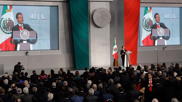 PHOTO: Mexicos newly sworn-in President Enrique Pena Nieto delivers his inaugural speech at the National Palace in Mexico City, Saturday, Dec. 1, 2012.