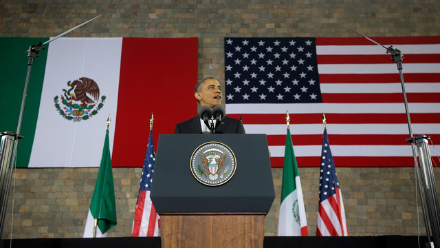 PHOTO: US President Barack speaks at the Anthropology Museum in Mexico City, Friday, May 3, 2013.