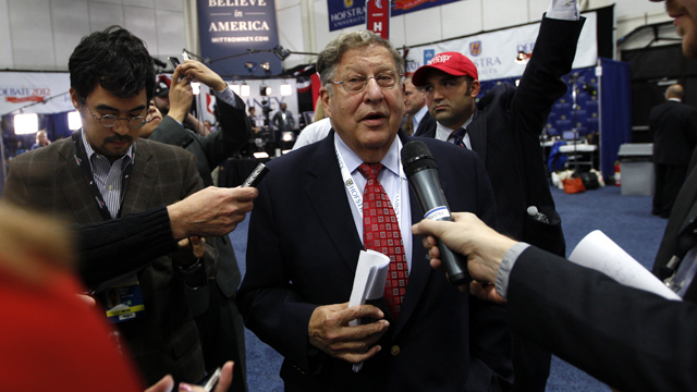 PHOTO: Former New Hampshire Gov. John Sununu speaks to reporters in the spin room on behalf of Mitt Romney after the second presidential debate at Hofstra University, Tuesday, Oct. 16, 2012 Hempstead, N.Y.