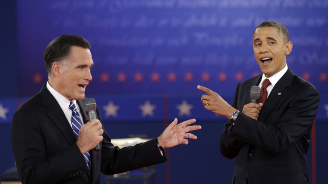 PHOTO:President Barack Obama and Republican presidential candidate, former Massachusetts Gov. Mitt Romney exchange views during the second presidential debate at Hofstra University in Hempstead, N.Y.