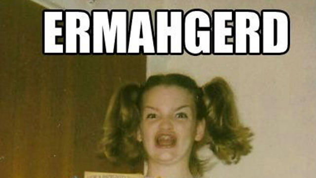 PHOTO: Ermahgerd (also known as ?Gersberms? and ?Berks?), a lisped pronunciation of ?oh my god,? is an image macro series featuring a photo of a young woman holding several books from the children?s horror fiction series Goosebumps.