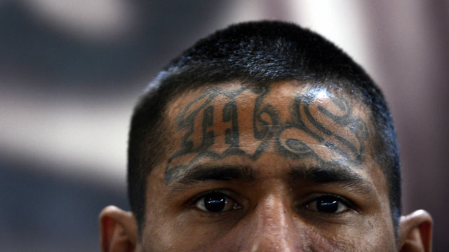 PHOTO: A member of the Mara Salvatrucha (MS13), is pictured on Monday, March 4, 2013, in the Criminal Center of Ciudad Barrios, San Miguel, 160 km east of San Salvador.