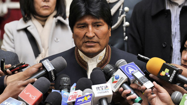 PHOTO:Evo Morales is Bolivias first indigenous president. In this picture he speaks with the press at the Palacio Quemado presidential palace in La Paz, on April 24, 2013.