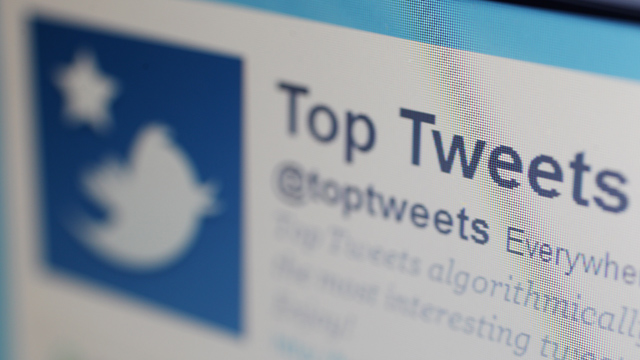 PHOTO: A close-up view of the homepage of the microblogging website Twitter