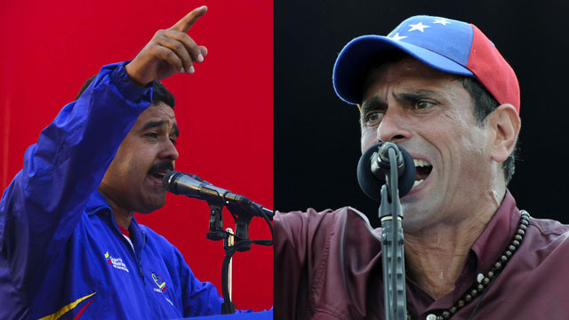 PHOTO: Nicolas Maduro (left) faced Henrique Capriles (right) in a special election in which Venezuelans picked a successor for the deceased president Hugo Chavez.
