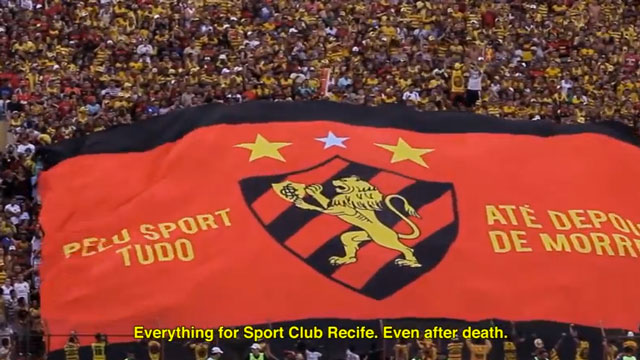 """PHOTO:""""Everything for Sport Club Recife, Even After Death,"""" says this banner unfurled at a Sports Recife match. An ad agency in Brazil capitalized on passion for the team, to increase organ donations in Pernambuco state."""
