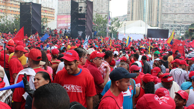 PHOTO: Chavez supporters packed several avenues in dowtown Caracas on Thursday.