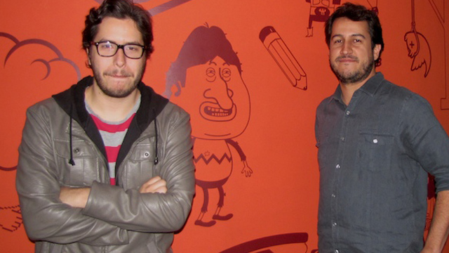 PHOTO: Juan Andres Ravell (left) and Oswaldo Graziani, creators of the satirical web hit, Isla Presidencial, pose for a picture in their Caracas studio.