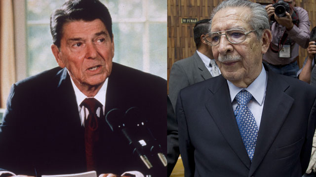 PHOTO: Ronald Reagan (left) was a close ally of Efrain Rios Montt (right), the former Guatemalan dictator who was recently convicted to 80 years in prison for the genocide of the Ixil people.