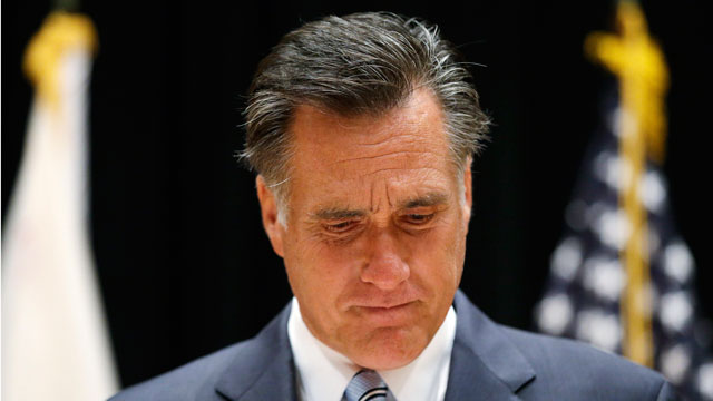 PHOTO: Gov. Mitt Romney speaks to reporters about the secretly taped video from one of his campaign fundraising events.