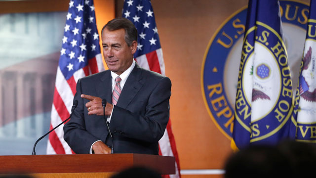PHOTO:  House Speaker John Boehner of Ohio takes a question during a news conference on Capitol Hill in Washington, Thursday, May 23, 2013.