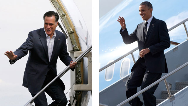 PHOTO: In these Sept. 2012, file photos Republican presidential candidate Mitt Romney, left, boards a plane in Denver, Colo, and President Barack Obama gets off a plane in Tampa, Fla.