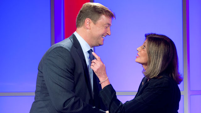 PHOTO:In this Oct. 11, 2012, file photo, Nevada Sen. Dean Heller, left, shakes hands with challenger Shelley Berkley, D-Nev. after a televised debate in Las Vegas.