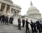 PHOTO:Incoming House freshmen of the 113th Congress walk down the east steps of the Capitol in Washington, Thursday, Nov. 15, 2012, following a freshman class photo.