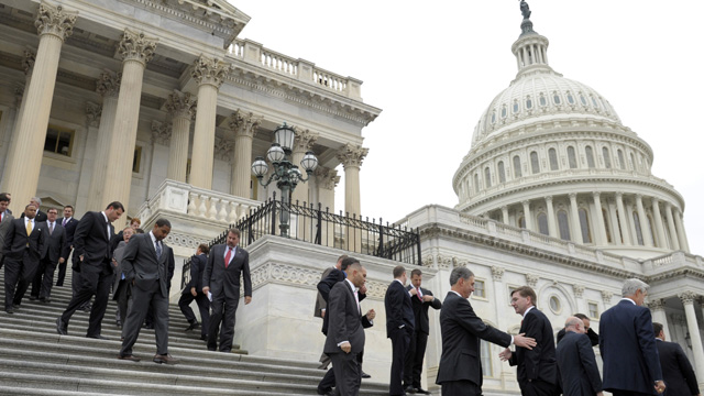 PHOTO: Incoming House freshmen of the 113th Congress walk down the east steps of the Capitol in Washington, Thursday, Nov. 15, 2012, following a freshman class photo.
