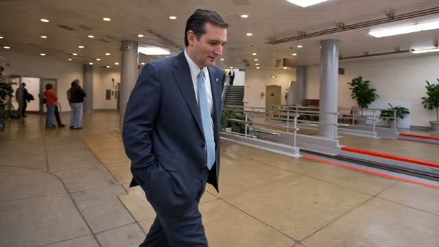 PHOTO: Sen. Ted Cruz, R-Texas walks through the Capitol complex in Washington, Friday, March 22, 2013, after his attempt to overturn the Affordable Care Act was defeated during a flurry of votes on amendments to the budget resolution.