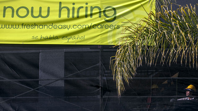 PHOTO:This Friday, Dec. 7, 2012, photo, shows a construction worker at a new site for a future Fresh & Easy supermarket in Los Angeles. The average number of people seeking U.S. unemployment benefits in December fell to the lowest level since March 2008.