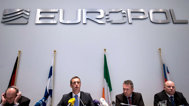 PHOTO: Britains Rob Wainwright, second from left, director of the European police agency Europol, elaborates on findings of a probe into match fixing during a press conference in The Hague, Netherlands, Monday Feb. 4, 2013.
