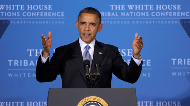 """PHOTO:President Barack Obama speaks at the 2012 Tribal Nations Conference, Wednesday, Dec. 5, 2012, in Washington. Tribal leaders are concerned about the possibility of deep spending cuts to avoid the """"fiscal cliff."""""""