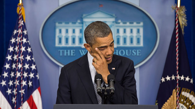 PHOTO: President Barack Obama wipes his eye as he talks about the Connecticut elementary school shooting, Friday, Dec. 14, 2012, in the White House briefing room in Washington.