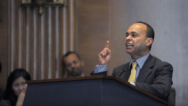 PHOTO: Rep. Luis V. Gutierrez, D-Ill. speaks on Capitol Hill in Washington, Wednesday, March 13, 2013, during a mock hearing on immigration reform following a national bus tour.