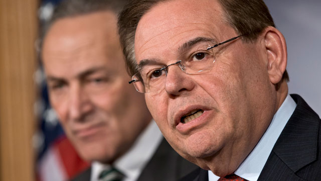 PHOTO: Sen. Robert Menendez, D-N.J., right, and Sen. Charles Schumer, D-N.Y., left, join a bipartisan group of leading senators to announce principles of immigration reform during a news conference at the Capitol in Washington, Monday, Jan. 28, 2013.