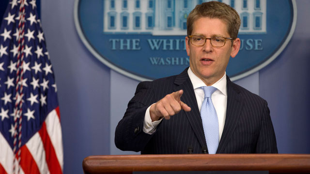 PHOTO: White House Press Secretary Jay Carney calls on a reporter during his daily news briefing at the White House in Washington, Wednesday, Nov. 28, 2012.