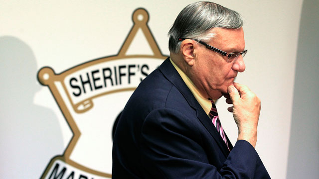 PHOTO: FILE - In this April 3, 2012 file photo, Maricopa County Sheriff Joe Arpaio pauses prior to holding a news conference in Phoenix.