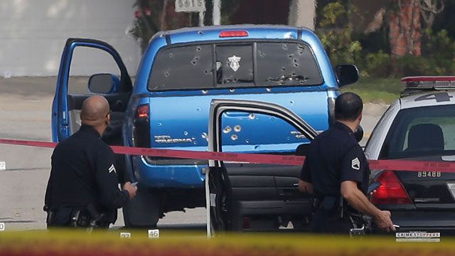 PHOTO: Police investigate after officers mistakenly shot this pick up truck.