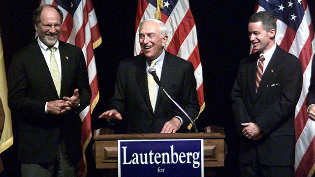 PHOTO: In this Oct. 2, 2002 file photo, Frank Lautenberg, center is flanked by Sen. Jon Corzine, D-N.J., left, and Gov. James McGreevey, in Trenton, N.J. Lautenberg died Monday, June 3, 2013 at age 89.