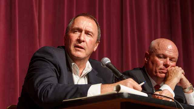 PHOTO: Utah Attorney General Mark Shurtleff and Special Fiduciary Bruce Wisan answer questions during a community meeting regarding the United Effort Plan (UEP) trust Friday, Nov. 30, 2012 in Colorado City, Ariz.