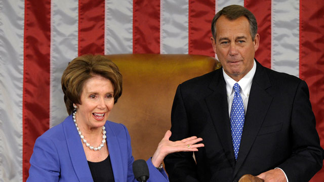 PHOTO: House Minority Leader Nancy Pelosi of Calif. gestures after passing the gavel to House Speaker John Boehner of Ohio, who was re-elected as House Speaker of the 113th Congress, Thursday, Jan. 3, 2013, on Capitol Hill in Washington.