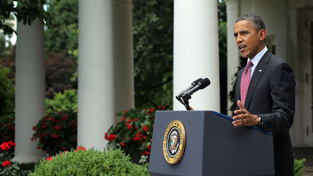 PHOTO: President Barack Obama delivers remarks about the Department of Homeland Securitys announcement about deportation of undocumented immigrants in the Rose Garden at the White House June 15, 2012 in Washington, D.C.