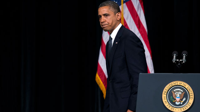 PHOTO: President Barack Obama walks off stage after delivering a speech at an interfaith vigil for the victims of the Sandy Hook Elementary School shooting on Sunday, Dec. 16, 2012 at Newtown High School in Newtown, Conn.