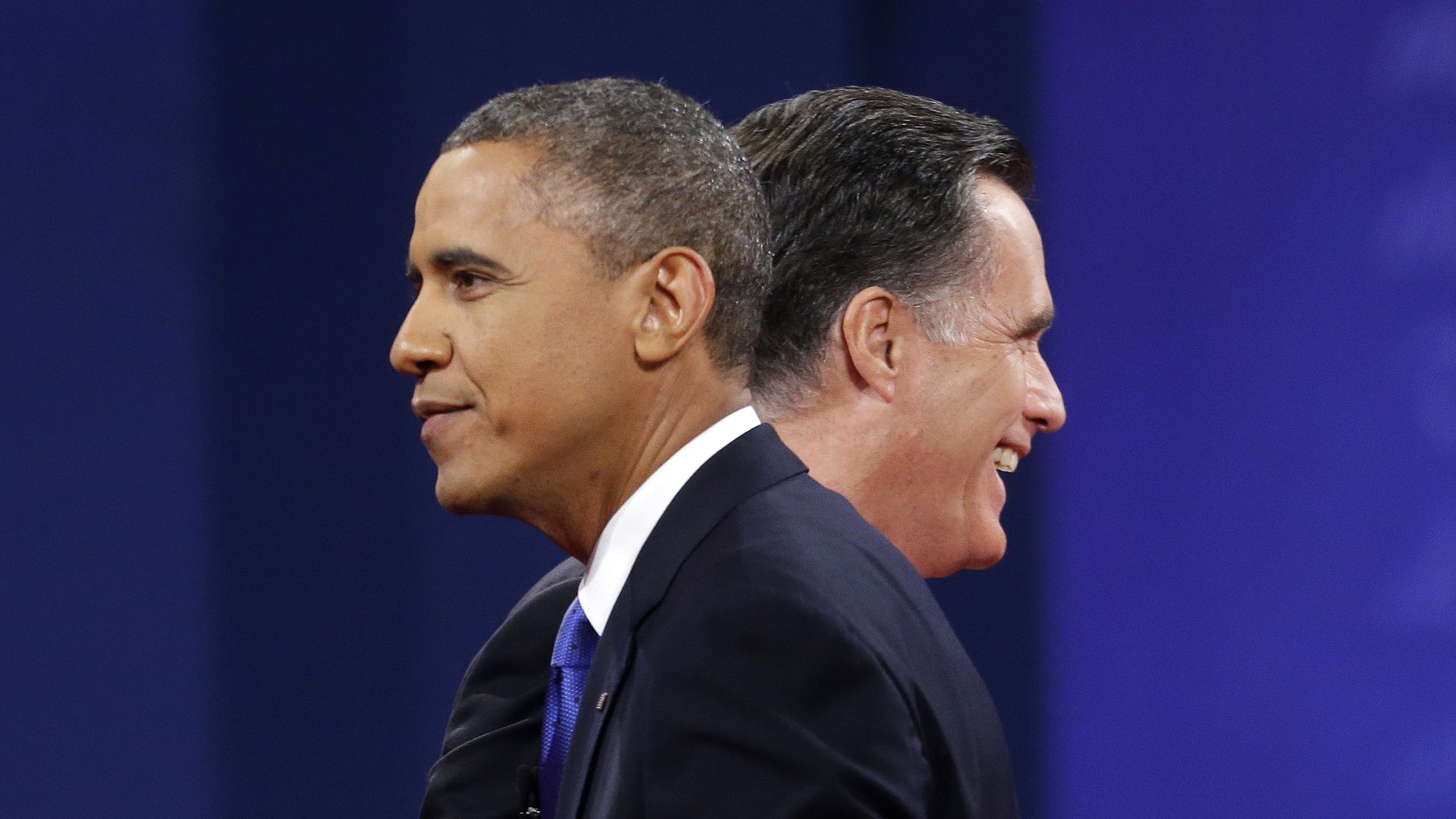 PHOTO: President Barack Obama and Republican presidential candidate, former Massachusetts Gov. Mitt Romney are on stage together at the end of the last debate at Lynn University, Monday, Oct. 22, 2012, in Boca Raton, Fla.