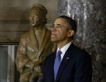 PHOTO:  President Barack Obama speaks at the unveiling of a statue of Rosa Parks at the U.S. Capitol in Washington.