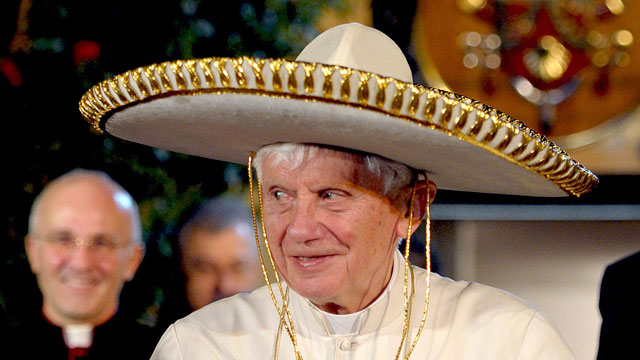 PHOTO: Pope Benedict XVI wears a Mexican sombrero hat in Leon, Mexico