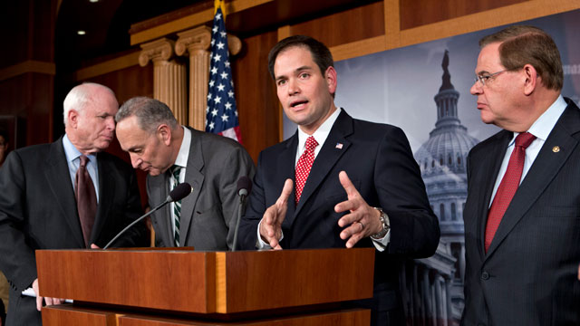 PHOTO: In this Jan. 28, 2013, file photo Sen. Marco Rubio, R-Fla., center, speaks at a Capitol Hill news conference on immigration legislation with a members of a bipartisan group of leading senators.