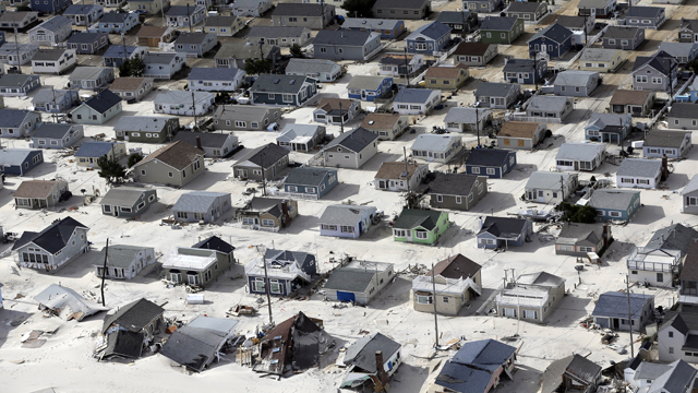 PHOTO: In this aerial photo, sand fills the streets in the wake of superstorm Sandy, Wednesday, Oct. 31, 2012, along the central Jersey Shore, N.J.