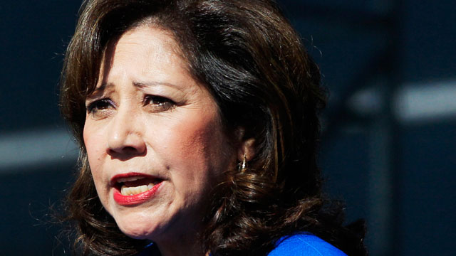 PHOTO:This Sept. 10, 2012 file photo shows Labor Secretary Hilda Solis addresses employees outside the Flat Rock Assembly in Flat Rock, Mich. Solis told colleagues she is resigning from Obama administration.