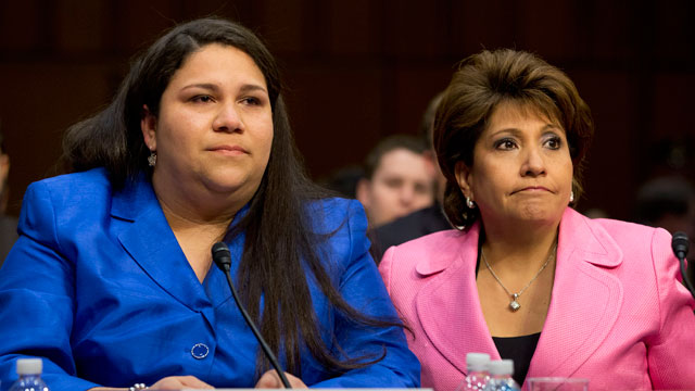 PHOTO:Gaby Pacheco, an immigrant rights leader and director of the Bridge Project, left, with Janet Murguia, president and CEO, National Council of La Raza, testifies, April 22, 2013, before the Senate Judiciary Committee on immigration reform.