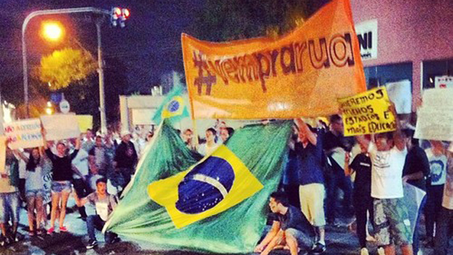 "PHOTO: The jingle for a Fiat commercial, ""Vem Pra Rua,"" has turned into a protest song and unifying hashtag in Brazil."