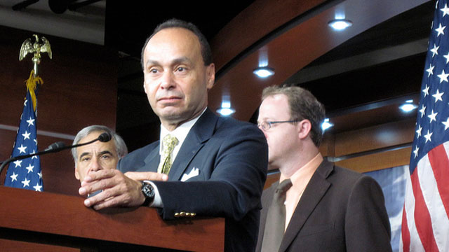 PHOTO:Rep. Luis Gutierrez (D-Ill.) speaks alongside members of the Congressional Hispanic Caucus about immigration reform in June, 2010.